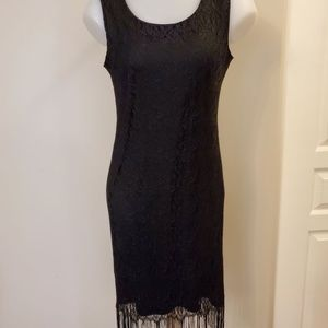 Reitmans Black Lace Fringed Dress Sz 9 Small.
